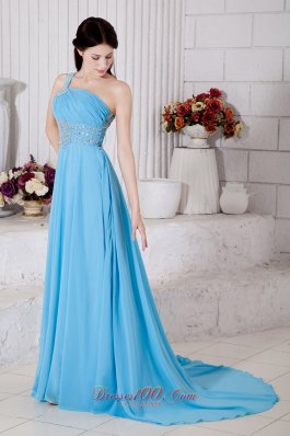 Best Aqua Blue Empire One Shoulder Prom Dress Chiffon Beading Brush Train