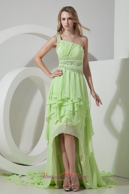 Best Beautiful Light Green One Shoulder Prom Dress High-low