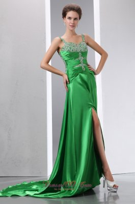 Best Sexy Green Beading Prom Dress Column Straps Court Train Elastic Woven Satin