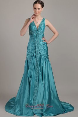 Best Teal A-line V-neck Brush Train Taffeta Beading and Ruch Prom / Evening Dress