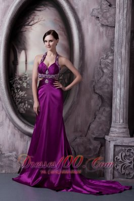 Best Pretty Eggplant Purple Column Halter Prom Dress Silk Like Satin Beading Court Train