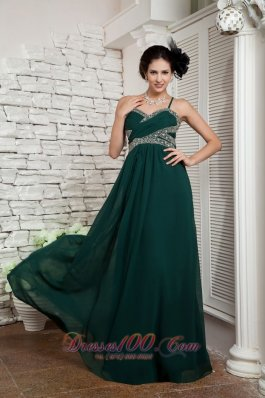 Best 2013 Dark Green Mother Of The Bride Dress Empire Spaghetti Straps Floor-length Chiffon Beading