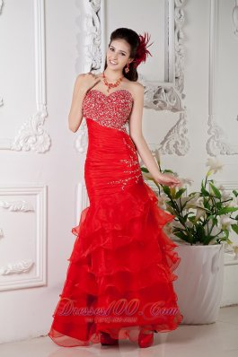 Best Red Mermaid Sweetheart Ankle-length Organza Beading Prom / Evening Dress