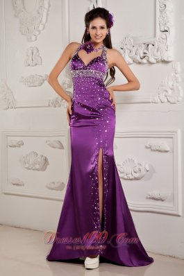 Best Elegant Eggplant Purple Evening Dress Mermaid Halter Satin Beading Brush Train