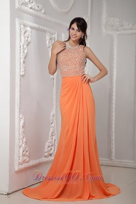 Best Sexy Orange Column One Shoulder Brush Train Chiffon Beading Evening Dress
