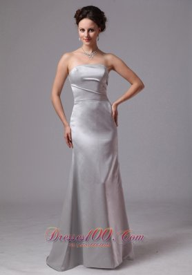 On Sale Simple Silver Column Satin Brush Train Mother Of The Bride Dress For Customize In Clayton Georgia