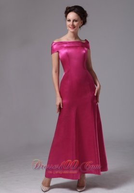 On Sale Hot Pink Off The Shoulder Ankle-length Mother Of The Bride Dress For Custom Made In Duluth Georgia