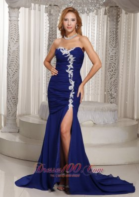 On Sale Mermaid Royal Blue Sweetheart Ruched and Appliques Prom Dress For Evening