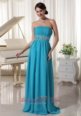 On Sale Beaded Decorate Waist Ruched Teal Chiffon Prom Dress With Brush Train