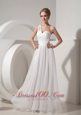 On Sale White Empire One Shoulder Beach Wedding Dress Organza Ruch Floor-length