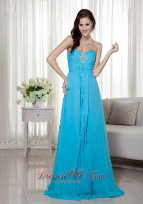 On Sale Teal Empire Sweetheart Brush Train Chiffon Beading Prom Dress