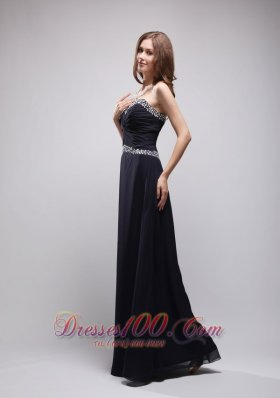 On Sale Black Column Sweetheart Floor-length Chiffon Sequins Prom / Evening Dress