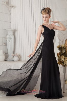 On Sale Black Column One Shoulder Prom Dress Brush Train Chiffon Ruch and Beading