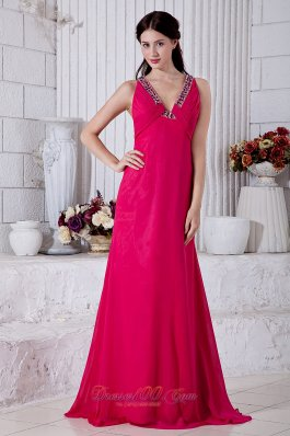 On Sale Coral Red Empire Prom / Evening Dress V-neck Brush Train Chiffon Beading