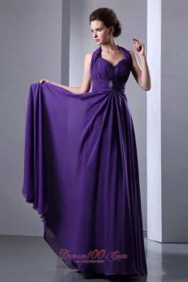 On Sale Purple Empire Halter Top Prom Dress Backless Chiffon Beading