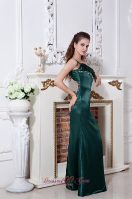 On Sale Hunter Green One Shoulder Prom Dress Floor-length Satin Ruch and Beading