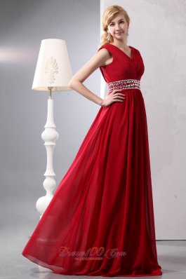 On Sale Modest Wine Red Empire V-neck Plus Size Prom Dress Floor-length Chiffon Beading