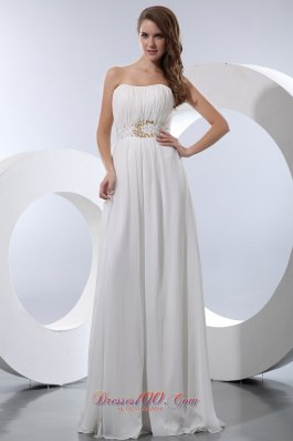 On Sale White Empire Strapless Floor-length Chiffon Beading Prom Dress