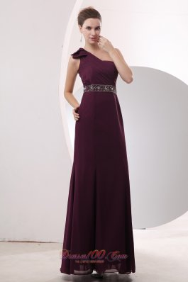 On Sale Gorgeous Burgundy Empire One Shoulder Beading Mother Of The Bride Dress Floor-length Chiffon