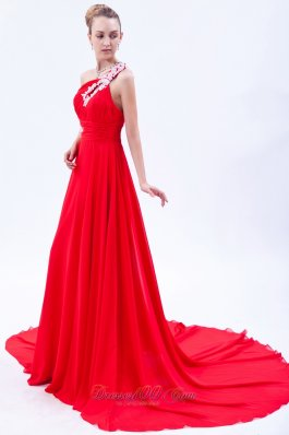 On Sale Red Empire One Shoulder Court Train Chiffon Appliques Homecoming Dress