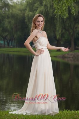 On Sale White Empire Strapless Brush/Sweep Chiffon Beading Prom Dress