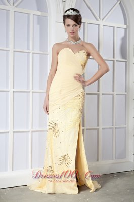 On Sale Light Yellow Column Sweetheart Brush Train Chiffon Sequins Prom Dress