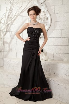 On Sale Modest Black Little Black Dress Column Sweetheart Taffeta Ruch and Beading Brush Train
