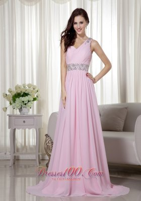 2013 Baby Pink Empire One Shoulder Brush Train Chiffon Beading and Ruch Prom / Celebrity Dress