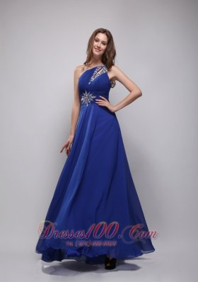 2013 Blue Empire One Shoulder Floor-length Chiffon Beading Prom Dress