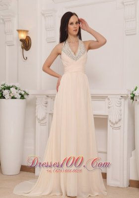 2013 Champagne Empire Halter Brush Train Chiffon Beading Prom / Pageant Dress