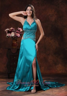 2013 Turquoise High Slit Halter Brush Train Prom Dress With Beaded Decorate In Williams Arizona