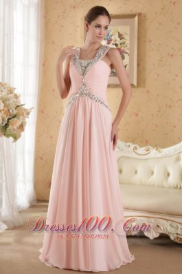 2013 Baby Pink Column / Sheath Straps Court Train Chiffon Beading and Ruch Prom / Evening Dress