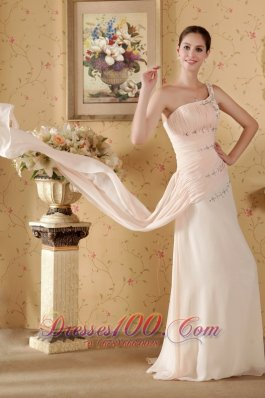 2013 Baby Pink Column One Shoulder Watteau Train Chiffon Beading and Ruch Prom / Graduation Dress