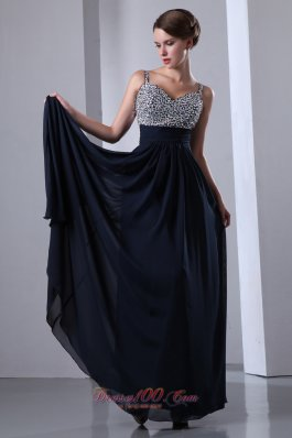 2013 Dark Navy Blue Straps Chiffon Beading Prom Dress with Colorful Beading