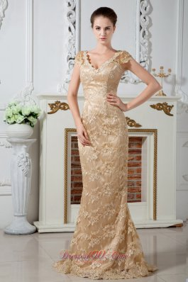 2013 Champagne Column V-neck Lace and Embroidery Mother Of The Bride Dress Brush Train Satin