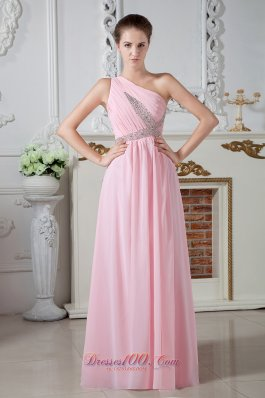 2013 Cheap Baby Pink One Shoulder Chiffon Prom Dress Beaded X Shap