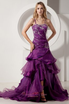 2013 Eggplant Purple A-line Spaghetti Straps Court Train Prom Dress Taffeta and Organza Beading and Ruffles