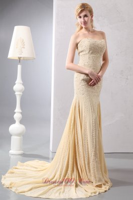 2013 Beautiful Gold Mermaid Prom Dress Sweetheart Court Train Chiffon Beading and Sequins