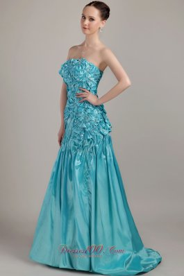 2013 Teal A-line Strapless Brush Train Taffeta Beading and Ruch Prom Dress