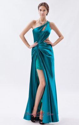 2013 Teal Column / Sheath One Shoulder Prom Dress Elastic Woven Satin Beading and Ruch Floor-length