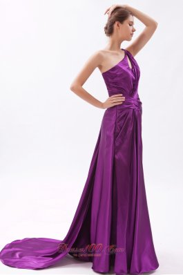 2013 Eggplant Purple Column Asymmetrical Brush Train Chiffon Ruch and Beading Evening Dress