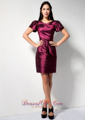 Low Price Burgundy Column V-neck Bridesmaid Dress Mini-length Taffeta