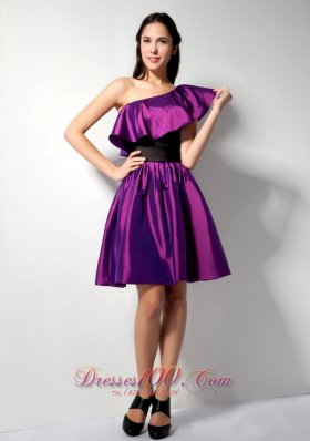 The Most Popular Eggplant Purple A-line One Shoulder Knee-length Taffeta Belt Bridesmaid Dress