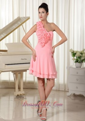 Hand Made Flowers Decorate Shoulder and Bust Watermelon Chiffon Pretty Homecoming Dress