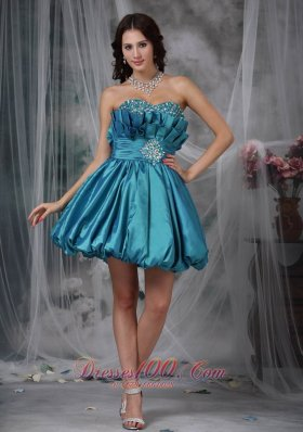 Teal A-line / Princess Sweetheart Mini-length Taffeta Beading Prom / Homecoming Dress