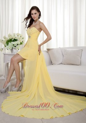 Yellow Column / Sheath Sweetheart High-low Chiffon Beading Prom / Evening Dress