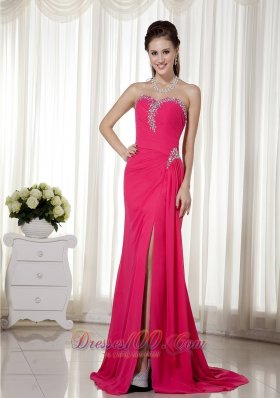 Hot Pink Column / Sheath Sweetheart Brush Train Chiffon Beading Prom Dress