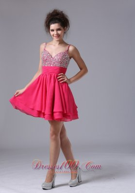 Beading Straps Mini-length A-Line Cocktail Beaded Decorate Shoulder Short Prom Dress