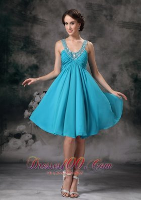 Teal Empire V-neck Knee-length Chiffon Beading Prom / Homecoming Dress