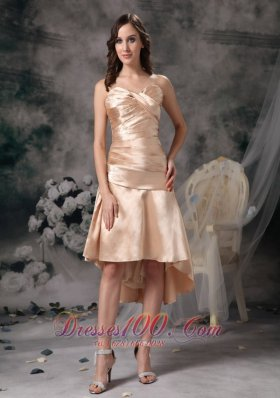 Champagne Column Sweetheart High-low Satin Ruch Prom Dress